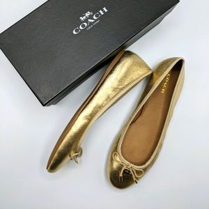 New in Box Coach Lara Metallic Gold Ballet Flats 7